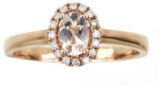 JCPenney FINE JEWELRY LIMITED QUANTITIES Oval Genuine Morganite and 1/10 CT. T.W. Diamond Ring