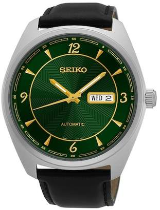 Seiko Men's Stainless Steel Mechanical Leather Watch, 45mm