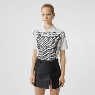 Burberry Montage Print Cotton Piqué Polo Shirt