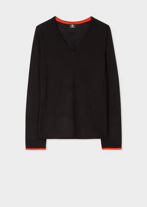 Paul Smith Women's Black Wool V-Neck Sweater With Red Tipping