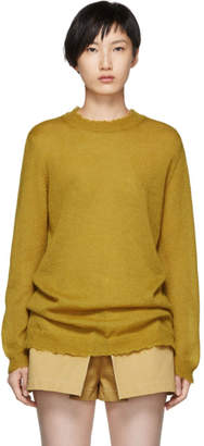 RED Valentino Yellow Distressed Mohair Sweater