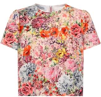 Valentino Floral-print silk and wool top