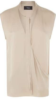 b925028771524a at Harrods · Theory Sleeveless Silk Wrap Blouse