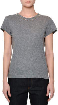 Valentino Short-Sleeve Rockstud-Trim T-Shirt, Gray
