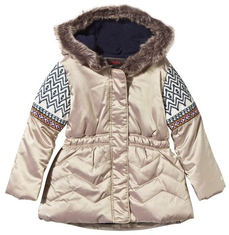 CatiminiCatimini Gold Padded Hooded Coat with Patterend Sleeves