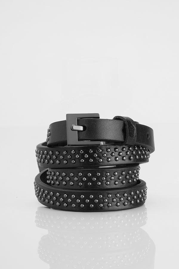 Women's Thin Studded Leather Belt