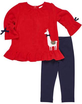 Florence Eiseman Girl's Fleece Llama Top w/ Leggings, Size 9-24 Months