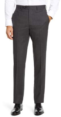 Santorelli Flat Front Solid Stretch Wool Dress Pants