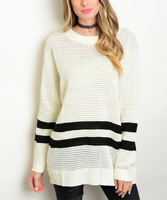 Ivory & Black Stripe Oversize Sweater