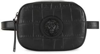 Versace Logo Croc-Embossed Leather Belt Bag