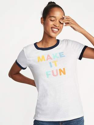 Old Navy Slim-Fit Graphic Ringer Tee for Women
