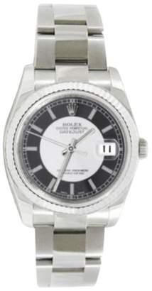 Rolex Datejust Oyster Steel 116234 STBKSO Black Tuxedo 18K Gold Bezel Mens 36mm Watch