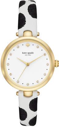 Kate Spade Women Holland Black & White Leather Strap Watch 34mm