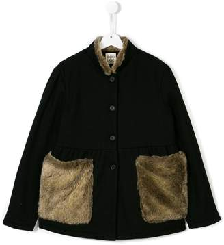 Douuod Kids Teen faux fur panel cape