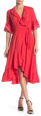Moon River Embroidered Ruffled Faux Wrap Midi Dress