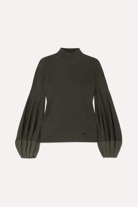 Akris Pleated Silk-trimmed Wool-blend Sweater - Green