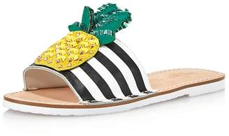 Kate Spade Women's Icarus Studded Leather Pineapple Slide Sandals