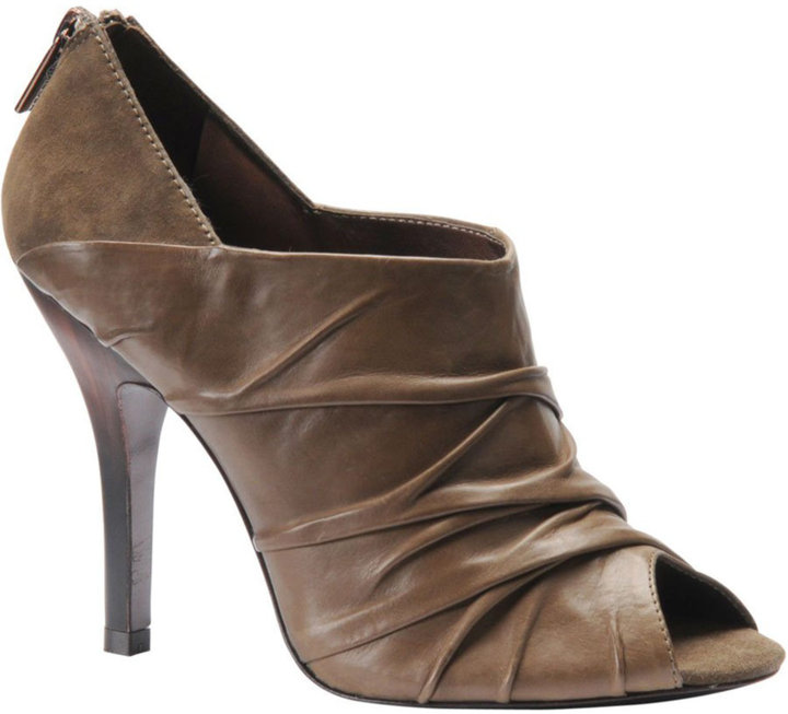 Isola Bade Leather Peep-Toe Ankle Boots