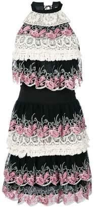 Just Cavalli tiered lace trim dress