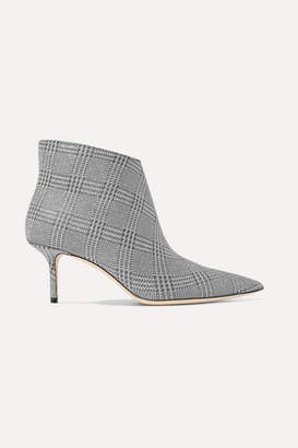 Jimmy Choo Marinda 65 Glittered Prince Of Wales Checked Leather Ankle Boots - Silver