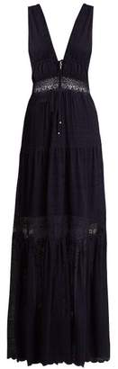 Jonathan Simkhai Embroidered Lace Silk Dress - Womens - Navy