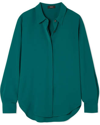 Theory Sunaya Crepe De Chine Shirt - Green