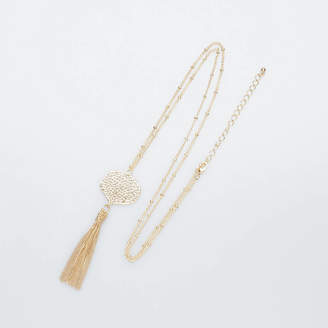 1ecc61a8acab9 Baronessa Long Gold Filigree Tassel Necklace