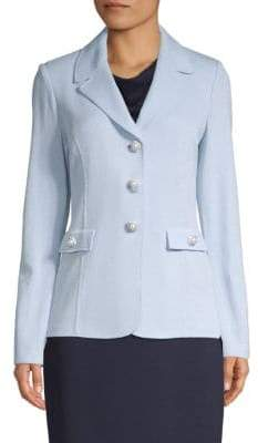 St. John Simulated Pearl Wool-Blend Blazer