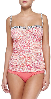 Tommy Bahama Printed Ruch-Side Tankini Top
