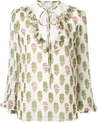 Giambattista Valli floral ruffle blouse