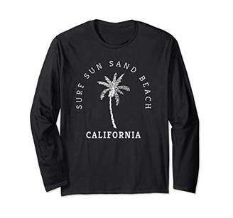 Fun California Surf Sun Sand Beach Palm Tree Novelty Art Long Sleeve T-Shirt