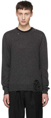 Maison Margiela Grey Wool Distressed Crewneck Sweater