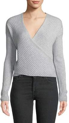 Jonathan Simkhai Cashmere Wrap-Front Cropped Sweater