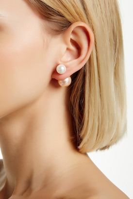Gold Plated Sterling Silver 10-14mm Shell Pearl Double Sided Earrings $23.97 thestylecure.com