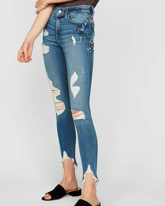 Express Mid Rise Floral Embroidered Ankle Jean Leggings
