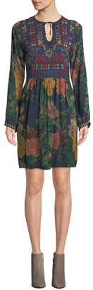 Johnny Was Bayani Floral-Print Tunic Dress w/ Embroidery