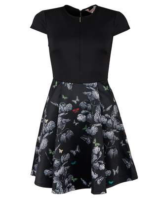 Ted Baker Cralla Narnia Print Neoprene Skater Dress Colour: BLACK, Siz