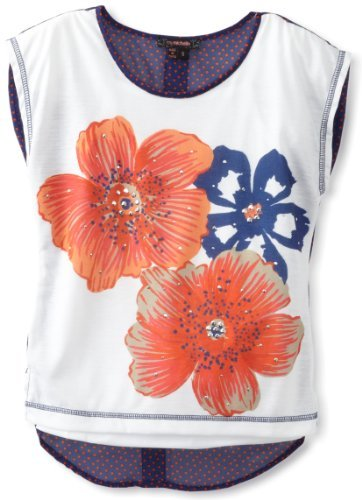My Michelle Girls 7-16 Hi Low Button Back Top