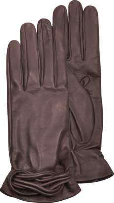 Forzieri Women's Brown Leather Gloves w/Knot