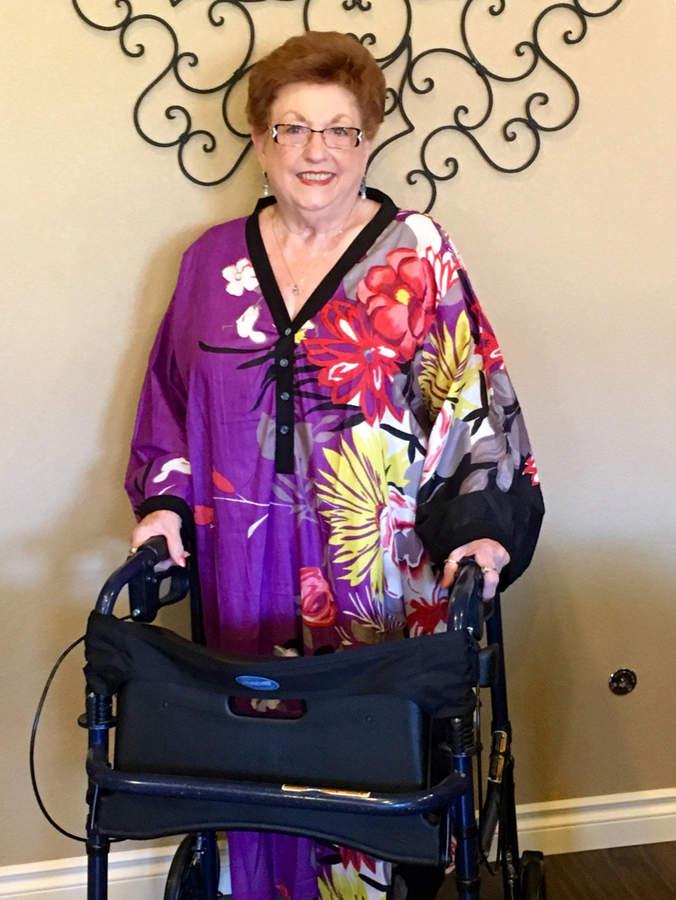Etsy Purple Blue Button-Front Caftan for Elderly People - Jungle of Flowers Pattern