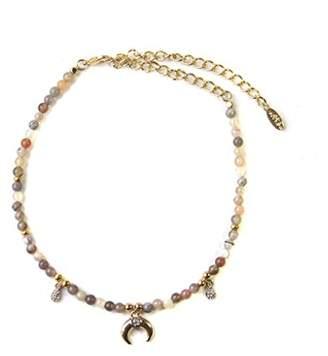 Ettika Magic in Botswana Agate with Gold Horn Choker Necklace