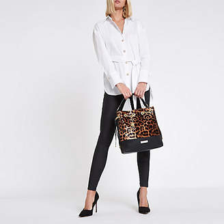 River Island Womens White tie front long sleeve shirt