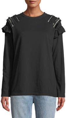 Lumie Shoulder-Fringe Crewneck Sweatshirt