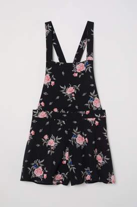 H&M Patterned Bib Overall Shorts - Black