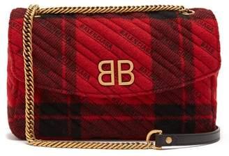 Balenciaga Bb Round Plaid Bag - Womens - Black Red