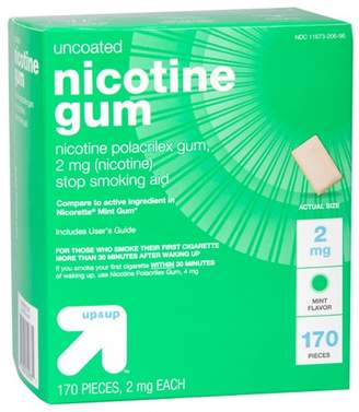 Nicorette Up&Up Nicotine 2mg Gum Stop Smoking Aid - Mint Flavor - 170ct - Up&Up (Compare to active ingredient in Mint Gum)