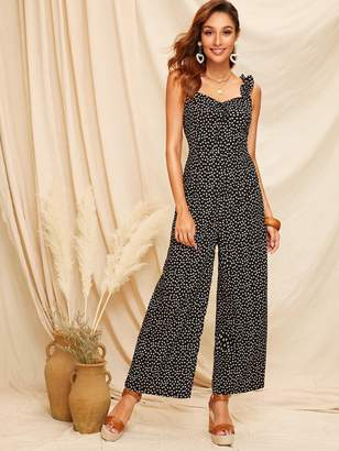 4bbac1860c Shein Frill Straps Knot Front Ditsy Floral Wide Leg Jumpsuit