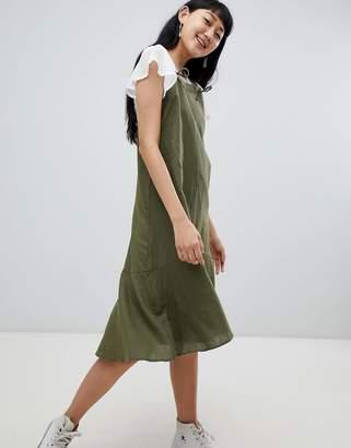 Pull&Bear cami linen dress in khaki