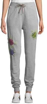 Etienne Marcel Floral-Embroidered Drawstring Jogger Sweatpants