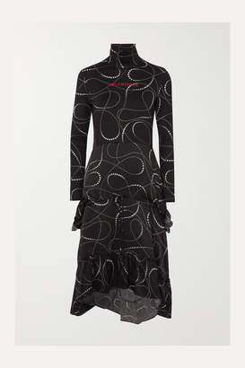 Balenciaga Printed Jersey And Silk-jacquard Turtleneck Dress - Black